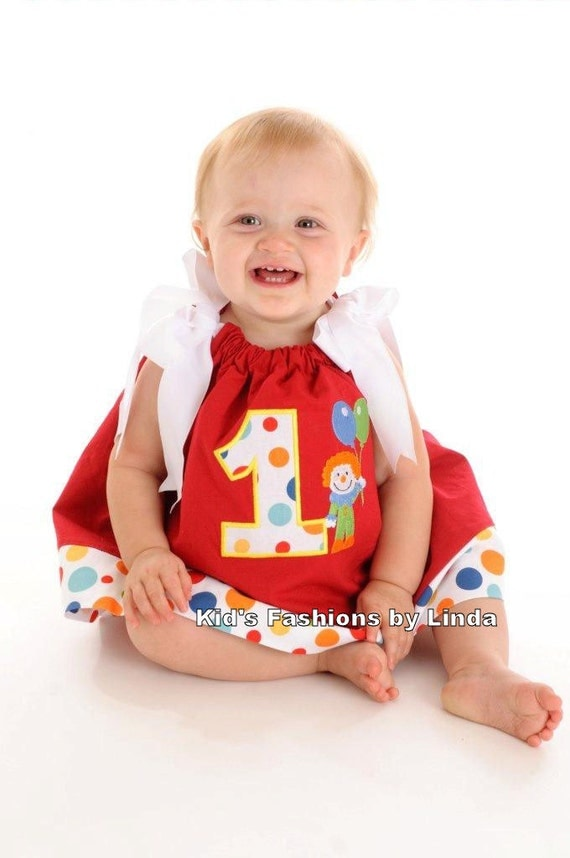 Personalized Circus Dot Clown Theme Birthday Dress with Applique Number