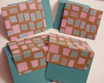 Sea Glass Mosaic Mini Notecard & Envelope Set of 4 (ncs0009)