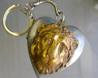 Lion Heart Locket Necklace or Key Chain