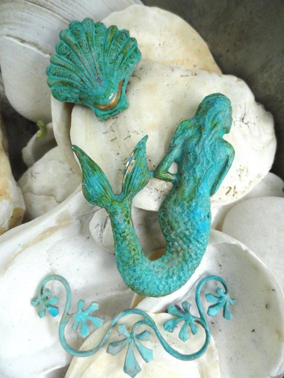 Mermaid, Seaweed, Oyster in green patina (3 pc set)