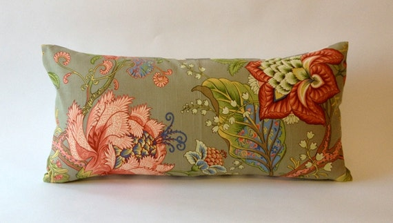 Pindler and Pindler Fabric 12X24 Decorative Bolster Pillow -Floral Print Design - Finished with Gray & White Chevron Backing
