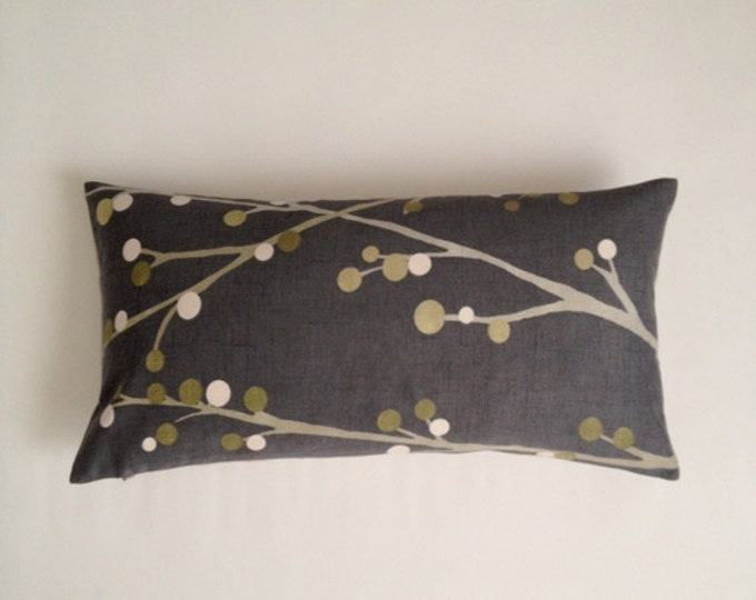 Decorative Bolster Pillow Cover - Charcoal Gray - Medium Weight Multi Color Printed Cotton- Invisible Zipper Closure- Cushion Cover