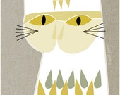 white cat, mid century design, art print, A4 size