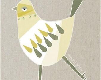 white bird - mid century design art print