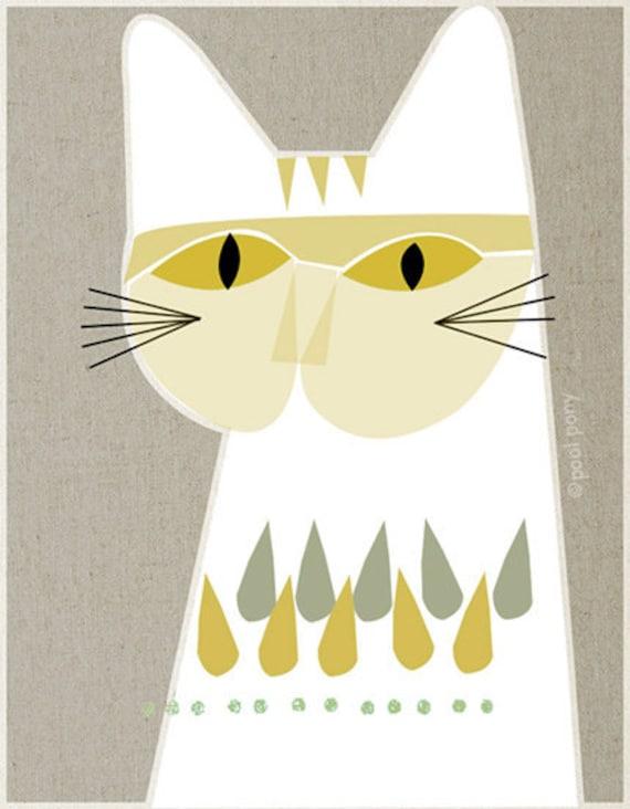 white cat mid century design art print a4 size. Black Bedroom Furniture Sets. Home Design Ideas