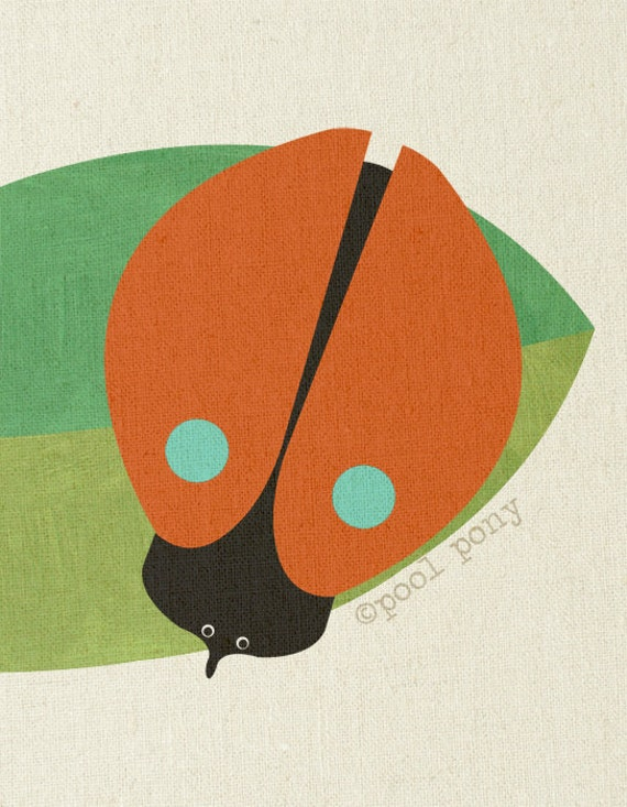 one red beetle - mid century design fine art print