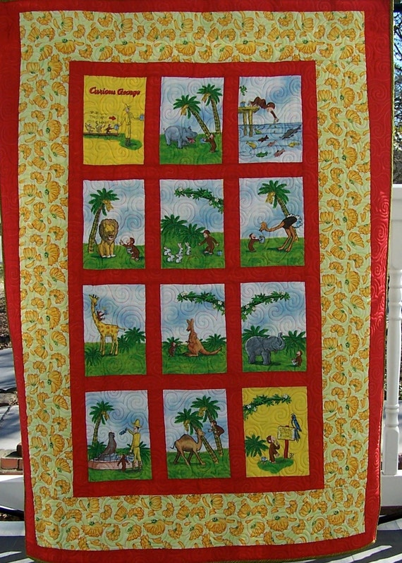 Curious George Visits the Zoo Quilt-handcrafted quilt