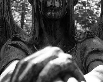Black and White Photo of Haserot Angel of Death Gravestone Lake View Cemetery