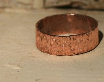 """Handmade Textured """"Bark"""" Copper Ring"""