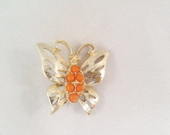 Vintage Gold Tone and Orange Bead Butterfly Pin / Brooch