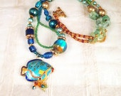 Blue Tropical Fish, cloisonne fish, blues, greens, gold, amber - in crystal, glass, metal, gold tone, boho necklace: Red Fish, Blue Fish