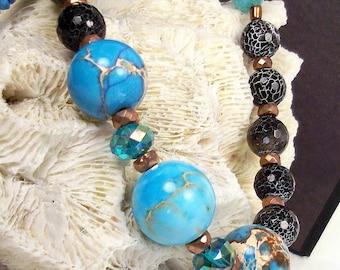 Blue earth aqua terra jasper, crackle black agate, aqua glass, black white agate, teal ab crystal, copper necklace set: Three Earths