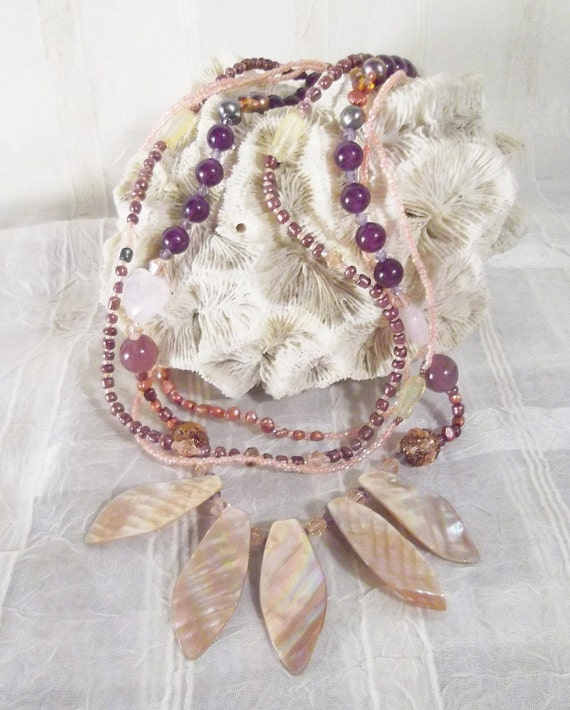 Abalone necklace, amethyst necklace, pearl multi-strand, antiqued copper necklace, wedding necklace, Boho: Floating in the Sunrise
