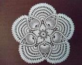 Beautiful handmade crocheted doily pineapple white
