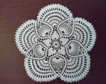 Beautiful handmade crocheted doily pineapple white