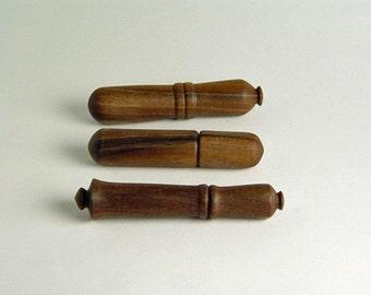 """Needle Case in Reclaimed Walnut. 3/4"""" - 1"""" Diameter by 4 1/2"""" Long."""