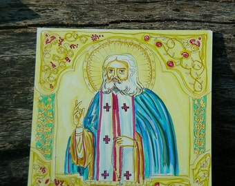 St. Seraphhim of Sarov Orthodox Icon w Watercolor effects and border, 6x6