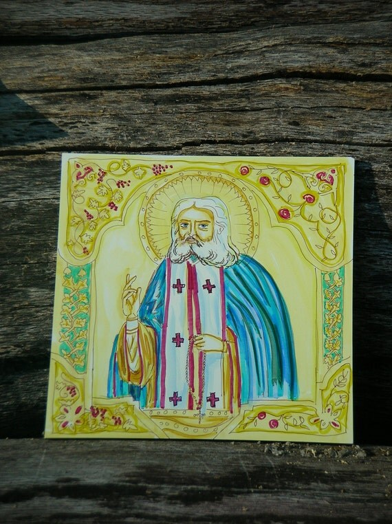 St. Seraphhim of Sarov Orthodox Icon w Watercolor effects and border, 6x6