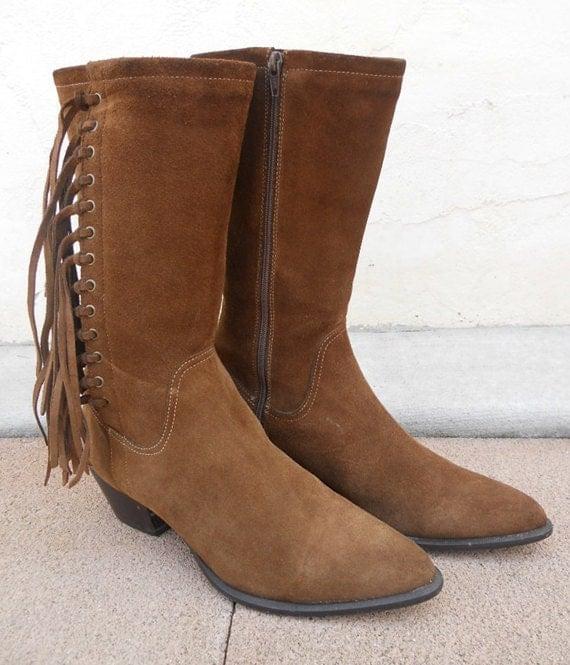 Vintage 80s Durango Brown FRINGE Boots Sz 7.5