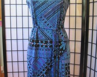 Vintage Mod Dress Summer Shift 1960s 1970s Sheath Nylon Blue Purple Turquiose Black White Abstract Design Pattern 36 M L MCM Midcentury
