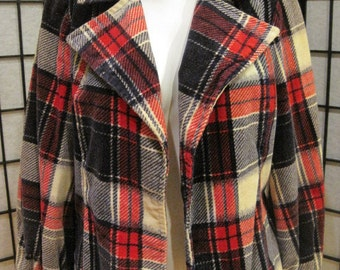 SALE Vintage 1970s Jacket Fitted Plaid Corduroy Open Blazer Hang Ups Navy Blue Cream Beige Red Plaid Autumn Fall Short Car Coat M L 36