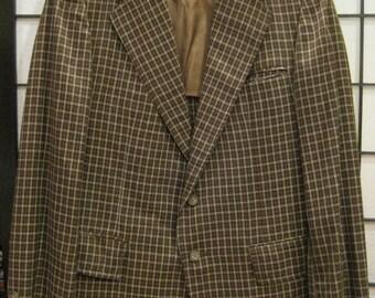 Vintage Mens Plaid Jacket Sportcoat Mod Blazer Brown Black White Windowpane 1960s 1970s Lightweight Mad Men 40 Barron's Dude 38 R