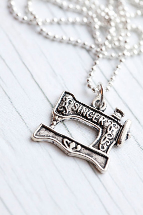 Singer pendant . Sewing machine . Ball chain . Cute . Gift . Only 1 left