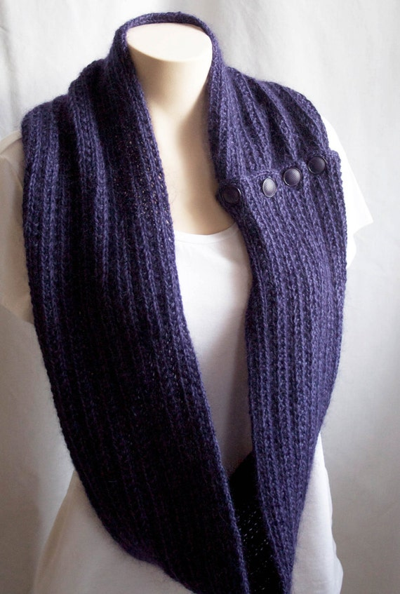 Knitted Infinity Cowl Pattern : Knitting Pattern Scarf Infinity Cowl Purple Violet Mohair