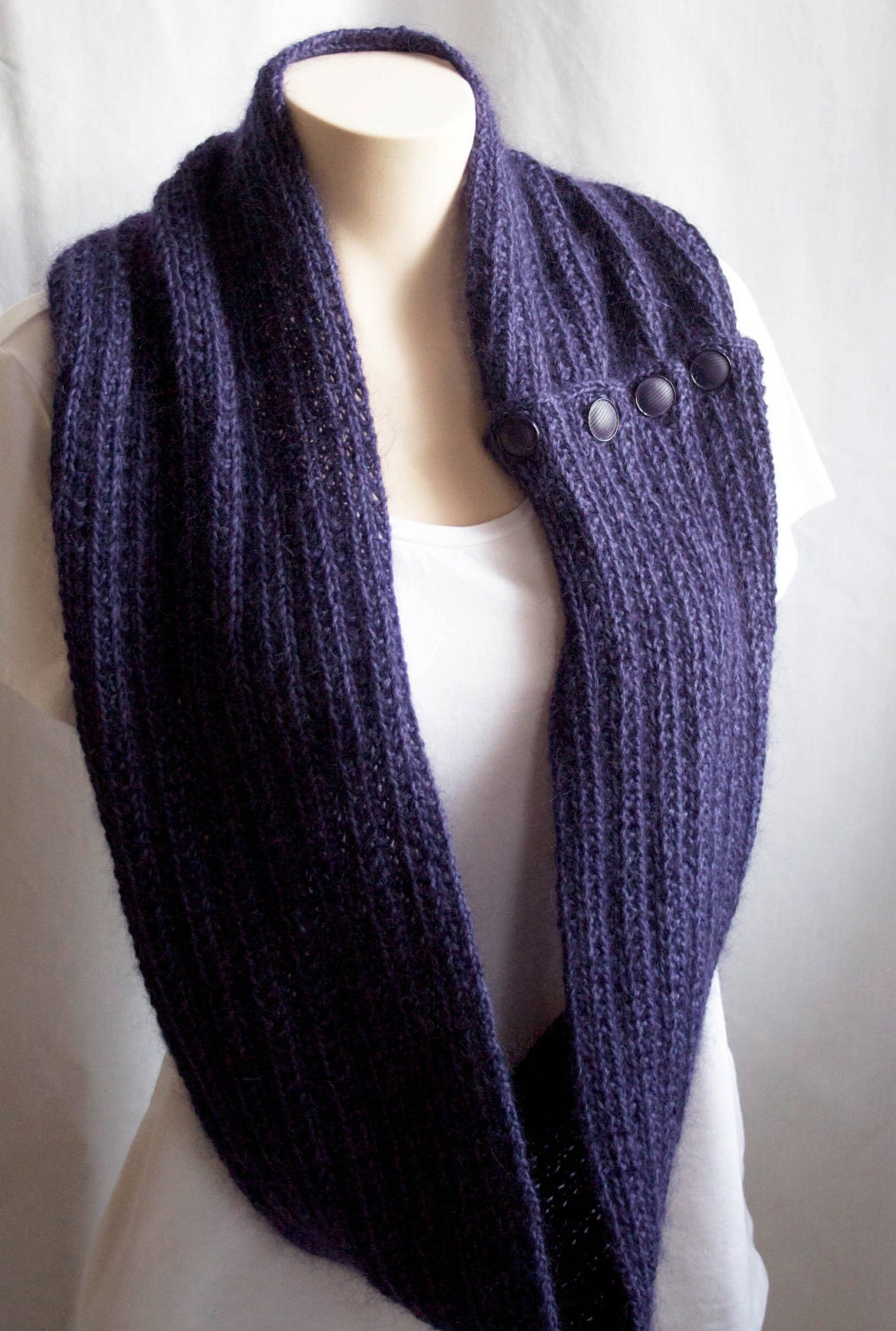 Alpaca Cowl Knitting Pattern : Knitting Pattern Scarf, Infinity Cowl, Purple, Violet ...