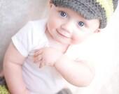Crochet Newsboy Hat,  Baby Boy Hat, Toddler Hat, Child Hat , Grey, Green and Cream