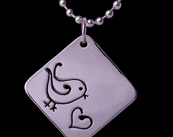 sterling silver 'tweet heart' hand made tag pendant. Tweet Heart Pendant by Rubyblue Jewelry