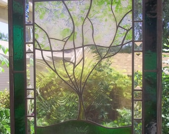 Custom Family Tree Stained Glass Window Panel  Large personalized with your family