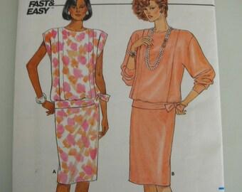 Butterick Pattern 3618 UNCUT Spring Dress 1980s Drop Waist Size 12 short long sleeve  Fast & Easy Pattern Instructions Sewing Pattern