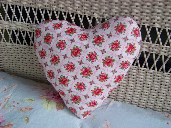 Vintage Floral Fabric Pillow / Heart Pillow / Shabby Chic Pillow / Vintage Rose Fabric