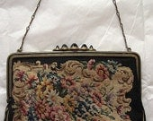 On sale- Vintage Austrian black handbag with petit point needepoint roses