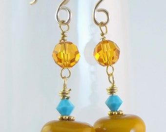 Beaded Lampwork Earrings - 'Butterscotch'