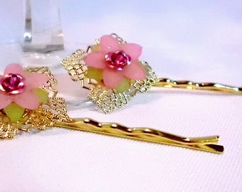 Gold and Light Pink Flower Bobby Pin Set