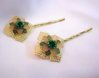 Gold with Peach and Green Flower Bobby Pin Set