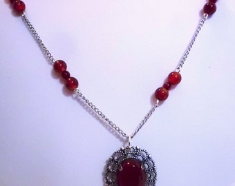 Antique Silver, Carnelian and Red Agate Necklace