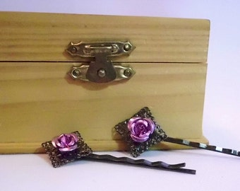 Gunmetal With Lavender Rose Bobby Pin Set