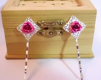 Sterling Silver Filled With Hot Pink Rose Bobby Pin Set