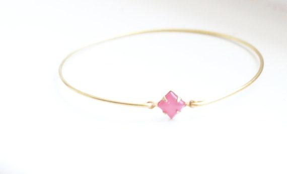 Vintage Pink Diamond Moonstone Set Stone Bangle, Stackable Bracelet Set, Gem Stone Bangles, Stones in Settings Bracelet, Bezel Bangle