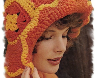 Instant Download PDF Easy Quick Crochet Pattern to make a Granny Squares Floppy Roll Back Brim Womens Summer Sun Hat Hippy Festival