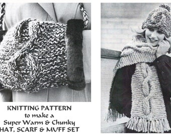 Hand Muff Knitting Pattern : Popular items for easy quick beginner on Etsy