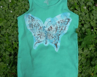 Turquoise Butterfly Applique Tank - Upcycled Swallowtail with Vintage Buttons - Women's Large/XL