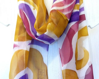Hand painted silk scarf. Purple MOD Swirl. Silk Chiffon. Silk Shawl. Silk Scarves Takuyo. Made in USA. Approx 13x68 in.