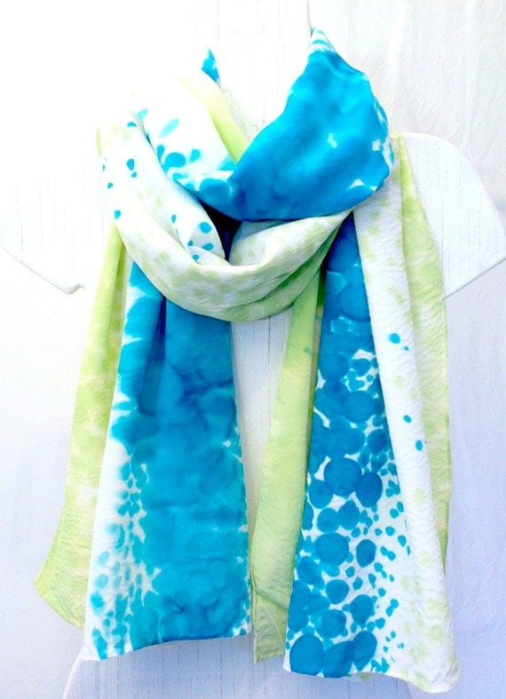 Hand Painted Silk Shawl. Large Silk Scarf, Pastel Green and Blue. Blue Silk Scarf. Silk Scarves Takuyo. French Silk Dye. Approx 22x90 in.