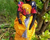 Fabric African Doll Vintage Handmade Traditional Figurine