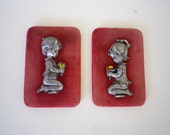 Pewter Figurines Vintage Velvet Picture Frame Set