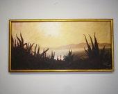 Original Oil Painting Art  Spanish Vintage Mediterranean Landscape